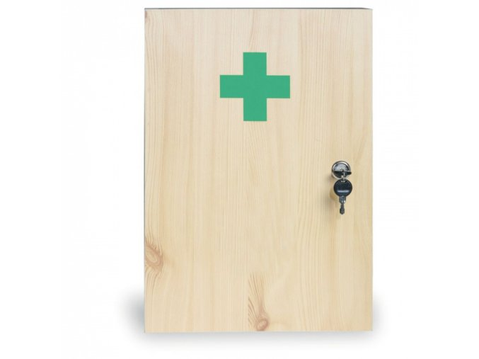 Dřevěná nástěnná lékárnička, 43x30x14 cm, smrk, DIN 13157