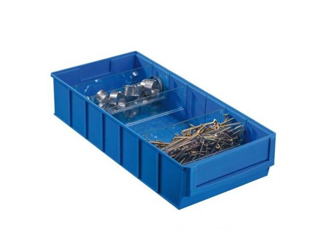 Plastový regálový box ShelfBox, 183 x 400 x 81 mm, modrý