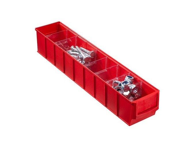 Plastový regálový box ShelfBox, 91 x 500 x 81 mm, červený