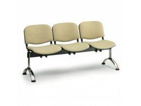 Čalouněná lavice do čekáren VIVA, 3-sedák, zelená, chromované nohy