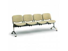 Čalouněná lavice do čekáren VIVA, 4-sedák, zelená, chromované nohy