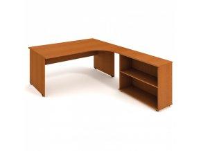 Rohový kancelářský psací stůl UNI s policemi, 1800 x 2000 mm, levý, třešeň