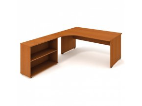 Rohový kancelářský psací stůl UNI s policemi, 1800 x 2000 mm, pravý, třešeň