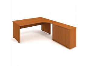 Rohový kancelářský psací stůl UNI se skříňkou, 1800 x 2000 mm, levý, třešeň