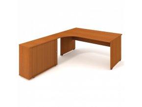 Rohový kancelářský psací stůl UNI se skříňkou, 1800 x 2000 mm, pravý, třešeň