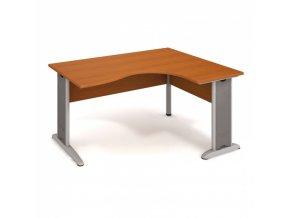 Rohový ergonomický kancelářský psací stůl SELECT, kovové nohy, 1600 x 1200 mm, levý, třešeň
