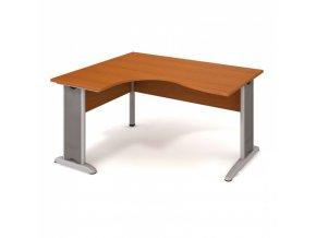Rohový ergonomický kancelářský psací stůl SELECT, kovové nohy, 1600 x 1200 mm, pravý, třešeň