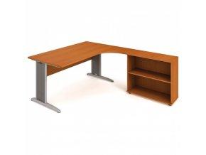 Rohový kancelářský psací stůl SELECT s policemi, 1800 x 2000 mm, levý, třešeň
