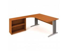Rohový kancelářský psací stůl SELECT s policemi, 1800 x 2000 mm, pravý, třešeň