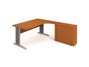 Rohový kancelářský psací stůl SELECT se skříňkou, 1800 x 2000 mm, levý, třešeň