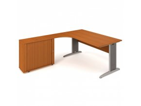 Rohový kancelářský psací stůl SELECT se skříňkou, 1800 x 2000 mm, pravý, třešeň