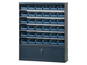 Skříňky s plastovými boxy a přihrádkou, 36 boxů