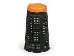 Plastový odpadkový koš na 120 L pytle, černý, žluté víko