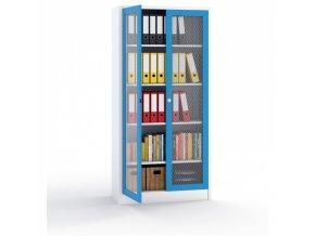 Kovová skříň - dveře tahokov, 1950 x 950 x 500 mm, šedá/modrá
