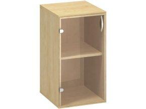 Kancelářská skříňka s prosklenými dveřmi CLASSIC - levé, 400 x 458 x 735 mm, divoká hruška