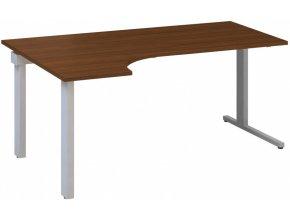 Rohový kancelářský psací stůl CLASSIC C, levý, ořech