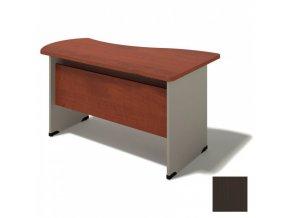 Kancelářský stůl BERN - dřevěná podnož, levý, wenge, délka 1600 mm