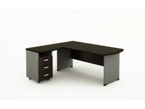 Rohový psací stůl BERN s kontejnerem - délka 1400 mm, dřevěná podnož, wenge