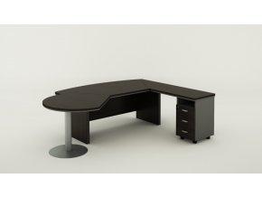 Rohový kancelářský pracovní stůl BERN PLUS se zásuvkami a přístavbou, 2000 x 2050 mm, levý, wenge