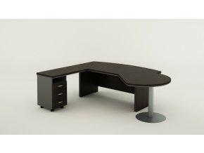 Rohový kancelářský pracovní stůl BERN PLUS se zásuvkami a přístavbou, 2000 x 2050 mm, pravý, wenge