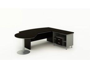 Rohový kancelářský pracovní stůl BERN PLUS s úložným prostorem a přístavbou, 2000 x 2050 mm, levý, wenge