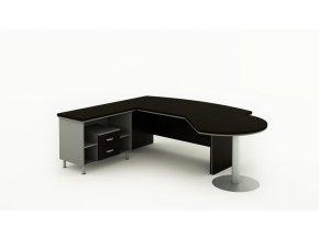 Rohový kancelářský pracovní stůl BERN PLUS s úložným prostorem a přístavbou, 2000 x 2050 mm, pravý, wenge