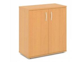 Dvoudveřová policová kancelářská skříň EXPRESS, 740 x 372 x 800 mm, hruška