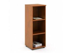 Vysoká kancelářská policová skříň EXPRESS, 372 x 372 x 1196 mm, tmavý ořech