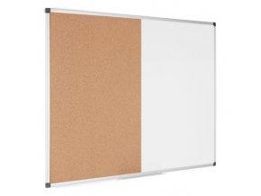 Popisovací magnetická tabule a korková nástěnka, 120x90 cm