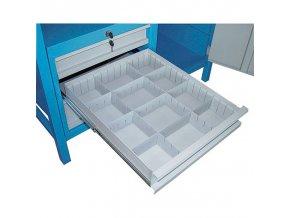 Dílenský pracovní stůl GÜDE Basic, smrk + buková překližka, 6 zásuvek, 6 zásuvek, 1190 x 600 x 850 mm, modrá