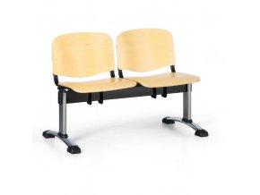 Dřevěná lavice do čekáren ISO, 2-sedák, chrom nohy