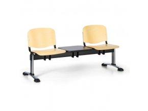 Dřevěná lavice do čekáren ISO, 2-sedák, se stolkem, chrom nohy