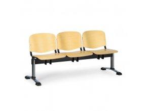 Dřevěná lavice do čekáren ISO, 3-sedák, chrom nohy