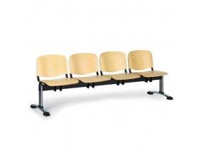 Dřevěná lavice do čekáren ISO, 4-sedák, chrom nohy