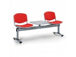 Čalouněné lavice do čekáren LIVORNO, 2-sedák, se stolkem, červená