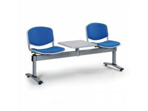 Čalouněné lavice do čekáren LIVORNO, 2-sedák, se stolkem, modrá