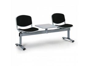 Čalouněné lavice do čekáren LIVORNO, 2-sedák, se stolkem, černá