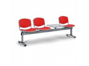 Čalouněné lavice do čekáren LIVORNO, 3-sedák, se stolkem, červená