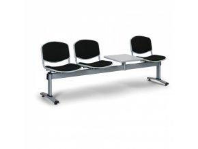 Čalouněné lavice do čekáren LIVORNO, 3-sedák, se stolkem, černá