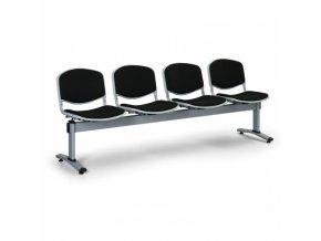 Čalouněné lavice do čekáren LIVORNO, 4-sedák, černá