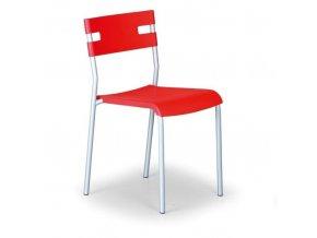 Plastová jídelní židle LINDY, červená