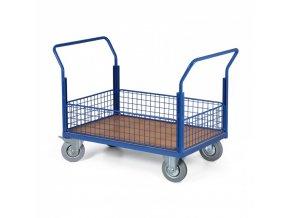 Plošinový vozík - 4 nízké drátěné výplně, 1000x700 mm, 300 kg