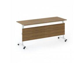 Skládací jednací stůl se sklopnou deskou TRAINING, 1600x400 mm, ořech