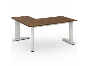 Rohový kancelářský psací stůl FLEXIBLE L 1600 x 1400 mm, ořech