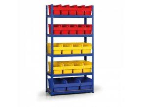 Regál s plastovými boxy 1800x900x400 mm, MDF police, boxy 10x A, 8x B, 3x C