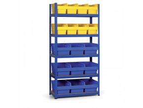 Regál s plastovými boxy 1800x900x400 mm, MDF police, boxy 8x B, 9x C