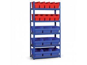 Regál s plastovými boxy 1800x900x400 mm, MDF police, boxy 10x A, 9x C