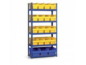 Regál s plastovými boxy 1800x900x400 mm, MDF police, boxy 16x B, 3x C