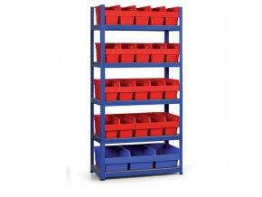Regál s plastovými boxy 1800x900x400 mm, MDF police, boxy 20x A, 3x C