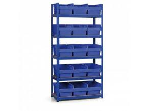 Regál s plastovými boxy 1800x900x400 mm, MDF police, boxy 15x C